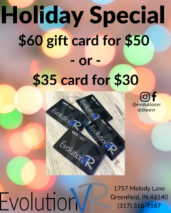 Holiday special: $60 gift card for $50 or $35 for $30